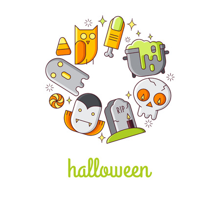Illustration of symbols halloween icon. Holidays concept made in line style vector. Illustration for poster and header, banner, icons and other flat design web elements