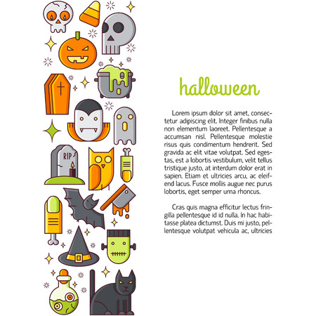 hearse: Illustration of symbols halloween icon. Holidays concept made in line style vector. Illustration for poster and header, banner, icons and other flat design web elements