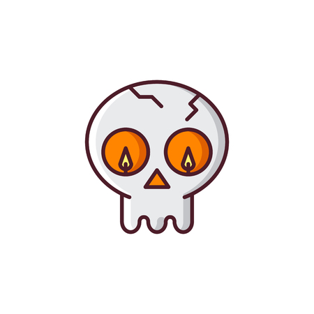 Halloween skull. Vector icon made in modern line style. Colorful illustration isolated on white background Illustration