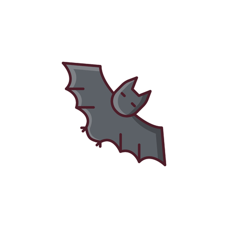 vampire bat: Halloween vampire bat. Vector icon made in modern line style. Colorful illustration isolated on white background