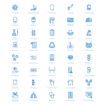 Vector lijn iconen met medische symbolen specialisatie. Medische beroepen. Line iconen van Narcologie, cosmetica, verloskunde, medische testen en andere.