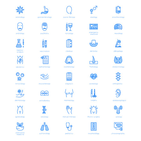 Vector line icons with medical symbols specialization. Medical professions. Line icons of narcology, cosmetology, obstetrics, medical testing and other. Illustration