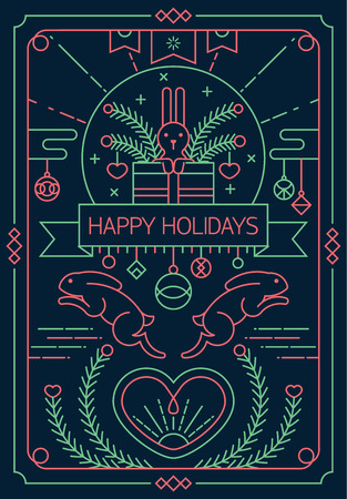 heard: Happy holidays greeting card design in outline style with rabbit and heard elements.