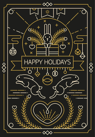 heard: Happy holidays greeting card design in gold outline style with rabbit and heard elements.