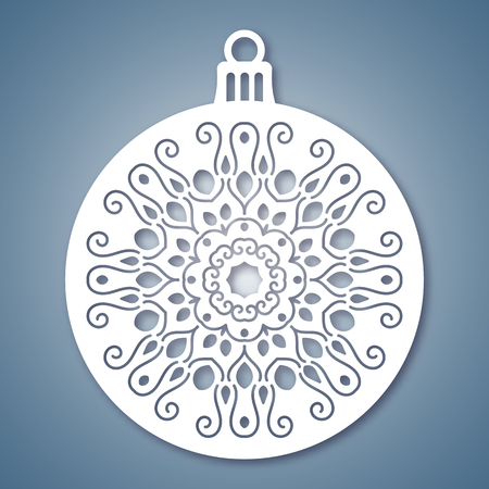 Christmas ball with geometric pattern. Laser Cutting template for greeting cards, envelopes, invitations, interior elements. Vector xmas paper cutting ornamental panel. Die cut card.