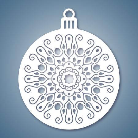 Boule de Noël avec motif géométrique. Laser modèle de coupe pour les cartes de voeux, des enveloppes, des invitations, des éléments intérieurs. Vector noël papier coupe panneau décoratif. Die carte couper.