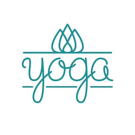 Vector yoga illustration with hand-lettering text. Trendy linear style with floral. Identity design for yoga studio, yoga center or class. Illustration