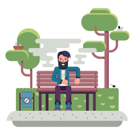 Vector art of Man with beard making vape cloud with e-cigarette outdoor. Flat colorful character vaping. Illustration
