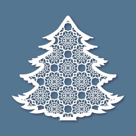 Albero di Natale con disegno geometrico. modello di taglio laser per biglietti di auguri, buste, inviti, elementi interni. Vector natale taglio della carta del pannello ornamentale. Die carta tagliata.