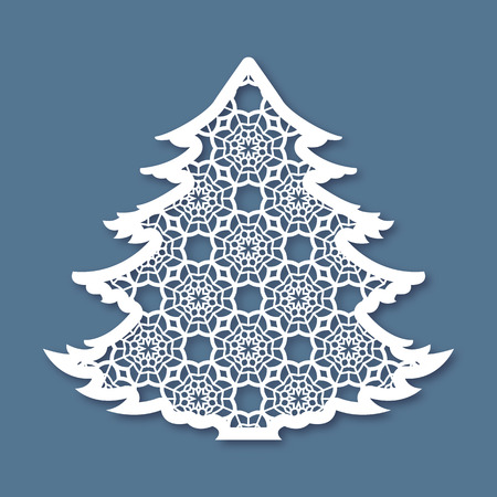Christmas tree with geometric pattern. Laser Cutting template for greeting cards, envelopes, invitations, interior elements. Vector xmas paper cutting ornamental panel. Die cut card.