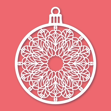 Christmas ball with snowflake. Laser Cutting template for greeting cards, envelopes, invitations, interior elements. Vector xmas paper cutting ornamental panel. Die cut card. Illustration