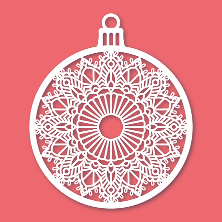 Christmas ball with snowflake. Laser Cutting template for greeting cards, envelopes, invitations, interior elements. Vector xmas paper cutting ornamental panel. Die cut card. Çizim