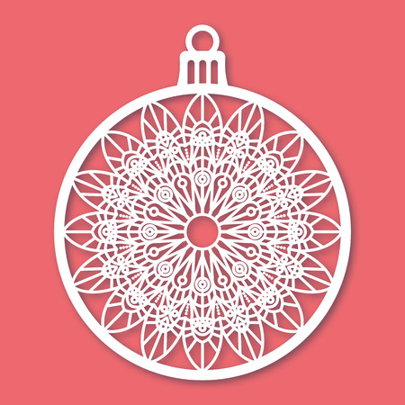 cutouts: Christmas ball with snowflake. Laser Cutting template for greeting cards, envelopes, invitations, interior elements. Vector xmas paper cutting ornamental panel. Die cut card. Illustration