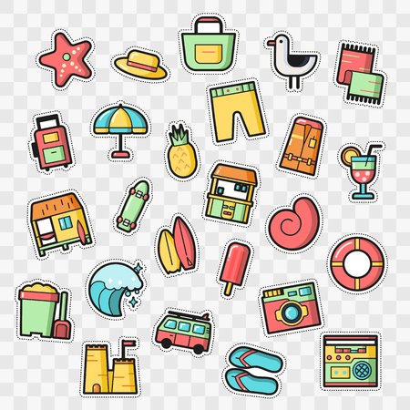 Set of Fashion patch badges with surf and summer elements. Perfect design for stickers, pins, embroidery patches. Vector illustration.