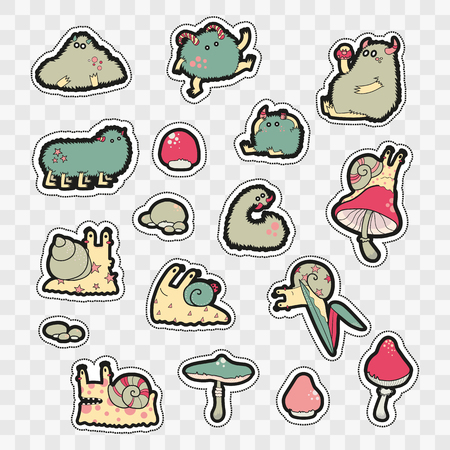 the nineties: Set of Fashion patch badges with cute monsters and mushrooms. Perfect design for stickers, pins, embroidery patches. Vector illustration isolated on white background.