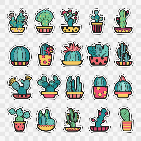 nineties: Set of Fashion patch badges with cute succulents and cactus in pot. Perfect design for stickers, pins, embroidery patches. Vector illustration.