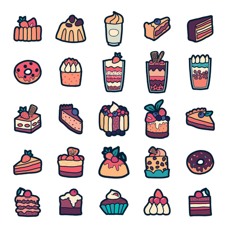 the nineties: Set of Fashion patch badges with cute sweets - ice cream, pudding, donut, cake, cheesecake. Perfect design for stickers, pins, embroidery patches. Vector illustration isolated on white background.