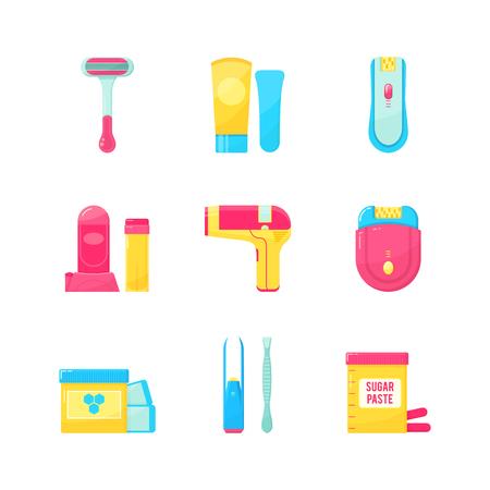 removal: Flat icons set of epilation or hair removal. Bottle of wax, sugar paste, scissors, wax strips, shaving razor, eyebrow tweezers, epilator. Vector illustration on white background