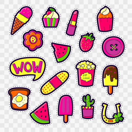 Set of Fashion patch badges with cute elements - ice cream, lipstick, cactus, cake, popcorn. Perfect design for stickers, pins, embroidery patches. Vector illustration isolated on white background.