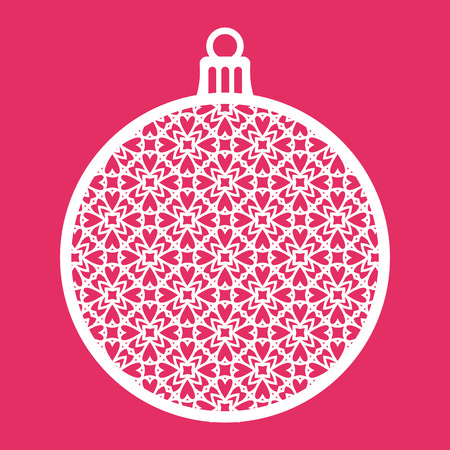 Christmas ball with geometric pattern. Laser Cutting template for greeting cards, envelopes, invitations, interior elements. Vector xmas paper cutting ornamental panel. Die cut card. Banco de Imagens - 67672362