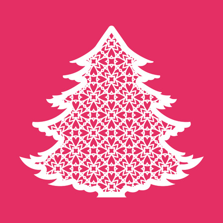 cutouts: Christmas tree with geometric pattern. Laser Cutting template for greeting cards, envelopes, invitations, interior elements. Vector xmas paper cutting ornamental panel. Die cut card.