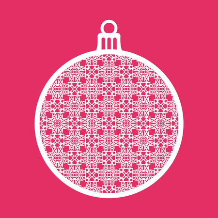 the inscription: Christmas ball with geometric pattern. Laser Cutting template for greeting cards, envelopes, invitations, interior elements. Vector xmas paper cutting ornamental panel. Die cut card.