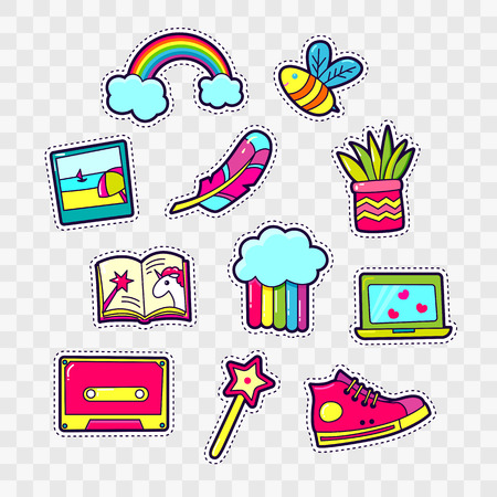 Set of Fashion patch badges with cute elements - rainbow, photo, pen, book, unicorn, bee, magic wand. Design for stickers, pins, embroidery patches. Vector illustration. Illustration