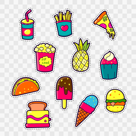 nineties: Set of Fashion patch badges with cute elements - cocktail, pineapple, pizza, cakes. Design for stickers, pins, embroidery patches. Vector illustration.
