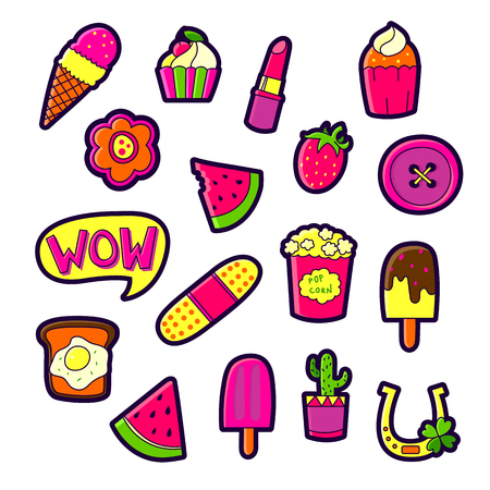 Set of Fashion patch badges with cute elements - ice cream, lipstick, cactus, cake, popcorn. Perfect design for stickers, pins, embroidery patches. Vector illustration isolated on white background. Vektorové ilustrace