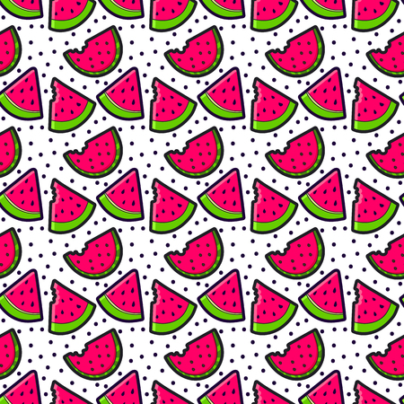 patches: Seamless pattern with Fashion patches. Cute elements - watermelon. Vector illustration isolated on white background. Illustration