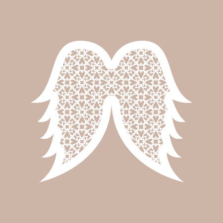 Christmas angel wings with geometric pattern. Laser Cutting template for greeting cards, envelopes, invitations, interior elements. Vector xmas paper cutting ornamental panel. Die cut card. Illustration