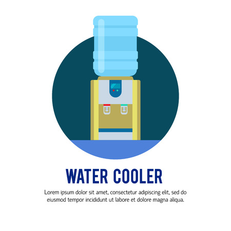 Vector flat illustration with water cooler and bottle. Modern template illustration. Banner or flyer template with with place for text. Illustration