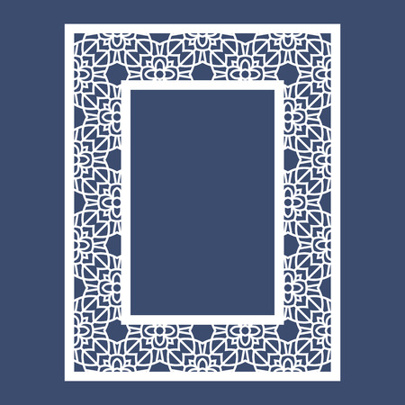 decorative pattern: Frame with geometric pattern. Cut laser square template for greeting cards, envelopes, invitations. Vector paper cutting ornamental panel. Die cut card.