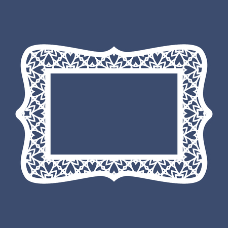 cutouts: Frame with geometric pattern. Cut laser square template for greeting cards, envelopes, invitations. Vector paper cutting ornamental panel. Die cut card.