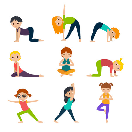 Girls and boys doing yoga. Cute yoga kids set. Flat vector illustration on white background.