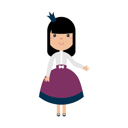 Princess girl in beautiful dress with crowns. Vector illustrations in flat style. Isolated on white background