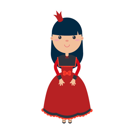 lolita: Princess girl in beautiful dress with crowns. Vector illustrations in flat style. Isolated on white background