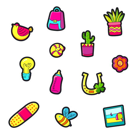 Set of Fashion patch badges with cute elements - photo, bee, cactus. Design for stickers, pins, embroidery patches. Vector illustration.