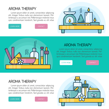 smells: Vector horizontal composition with aromatherapy elements. Modern template illustration. Banner or flyer template with with place for text