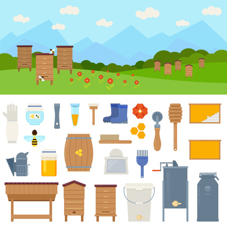 Apiary vector flat illustrations with beekeeping elements - wooden hive, honey, bees, flowers, tools beekeeper, honeycomb. Vector illustration on white background Stock Vector - 78684924