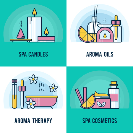 smells: Vector square composition with aromatherapy elements. Modern template illustration. Banner or flyer template with with place for text