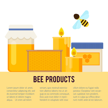 beekeeper: Beekeeping vector concept with different  items. Modern flat style vector. Honey illustration. Apiary concept.