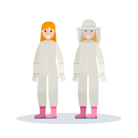 beekeeper: Woman farmer using beekeeper suit. Beekeeper at apiary. Vector illustration isolated on white background