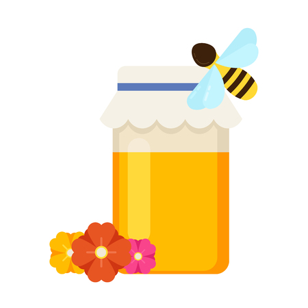 Beekeeping vector concept with different  items. Modern flat style vector. Honey illustration. Apiary concept.