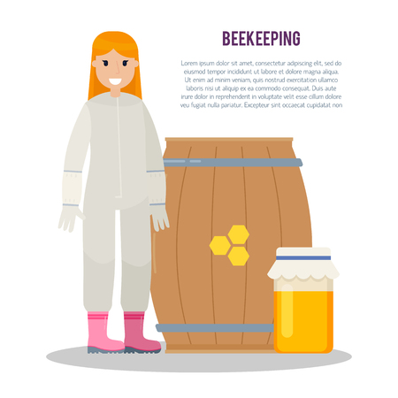 beeswax: Beekeeper at apiary. Beekeeping vector concept with different  items. Vector illustration isolated on white background