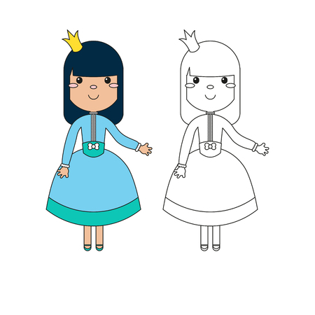Vector coloring book for children. Coloring page outline of cartoon beautiful princess on a white background. Illustration