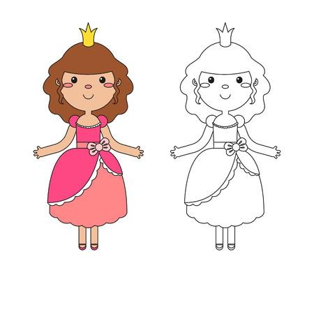 Vector Malbuch für Kinder . Malvorlage von Cartoon schöne Prinzessin auf einem weißen Hintergrund Standard-Bild - 82097221