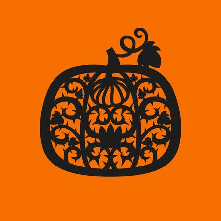 Vector Halloween Kürbis Rahmen. Laserschneiden Vorlage für Grußkarten, Umschläge, Party Einladungen, Innendekoration Elemente .. Silhouette Design. Standard-Bild - 84744696