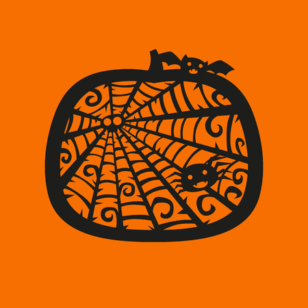Vector halloween pumpkin frame. Laser cutting template for greeting cards, envelopes, party invitations, interior decorative elements.. Silhouette Design.