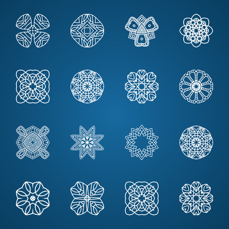 Vector illustration with set snowflakes.